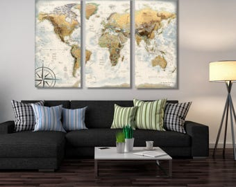 World Map Canvas -Elegent World Map created by a professional Cartographer
