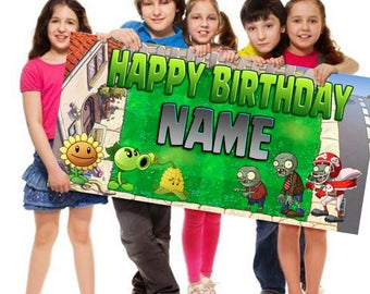 Plants vs. Zombies, Personalized, Customized, Birthday Banner