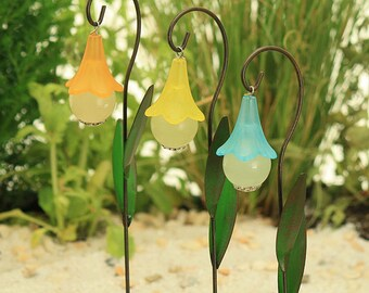 Glow In the Dark Flower Lantern and Decorative Hook, Fairy Garden Lantern, Fairy Garden Accessory, Miniature Garden Lantern, Cake Topper