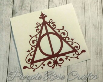 Deathly Hallows Elegant Harry Potter Decal Sticker Cling for Window, Car, Tablet, Laptop, Cup, Tumbler