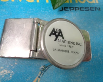 Men's A & A Machine Inc industrial company Logo Money Clip hinged clip with Black and white logo on front silver tone metal