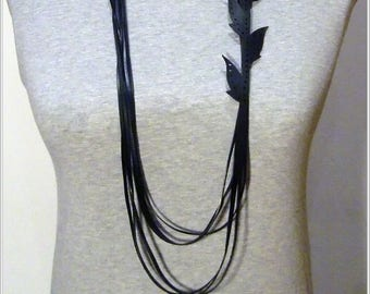 "Lange Kette aus Fahrradsclauch, Inner Tube Necklace, Bicycle  Jewelry, ""Einfach-Blätter """