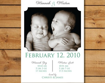 Twin Baby Announcement with Photo - Any Color
