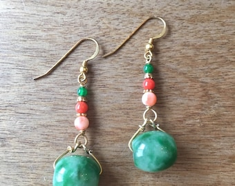Jade Earrings, Oval Shaped Jade Beads and Genuine Coral Beads, Green Agate Gold-Plated Sterling Silver Earrings