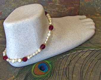 Garnet and Pearl Anklet ~ Ankle Bracelet with Freshwater Pearl and Garnet Crystal Beads ~ 10.5-11.5""