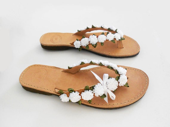 Leather Wedding Wedding White Bridal Flats flops Slippers Sandals Flops Flats flip Floral Bridal Beach Retro Party Sandals Flip 7Fwpw6Uqx