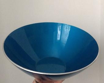 Mid Century EMALOX Salad Bowl Large Bowl Enamel Vintage 1950 Blue Bowl Salad Bowl Serving Bowl Bjørn Engø  Enamelware Norway Aluminiu