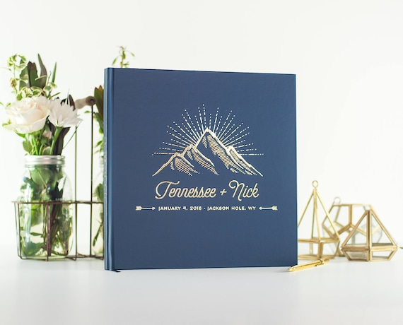 Mountain Wedding Guest Book Gold Foil wedding guestbook personalized navy hardcover planner book guest sign in instant photobook photo album