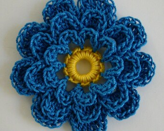Crocheted Flower - Blue and Yellow - Cotton - Crocheted Flower Embellishment - Crocheted Flower Applique