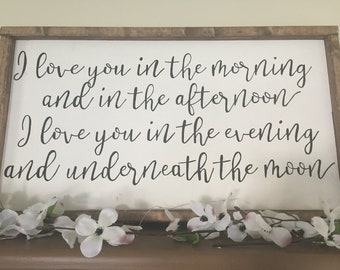 I Love You In The Morning And In The Afternoon Sign, I Love You Sign, Baby Shower Gift, Nursery Decor, Skidamarink Song, Nursery Decor