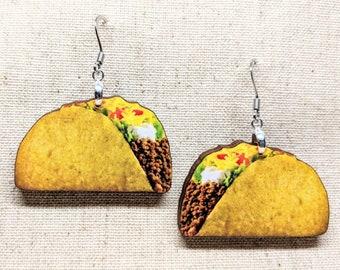 Taco Earrings / Laser Cut Wood Earrings / Handmade Jewelry / Food Jewelry / Food Earrings / Taco Tuesday / Taco Earring / Cinco de Mayo