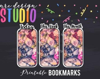 SALE Printable Bookmarks, Planner Die Cuts, Planner Bookmarks, Date Bookmark, Page Marker, Floral, Journal, Notebook, Planner Accessories