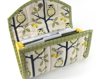 Cash / Coupon / Expense / Receipt Organizer - Olive Green Owls - Accordion Style Cash Budget Organizer Customizable Organiser Linen