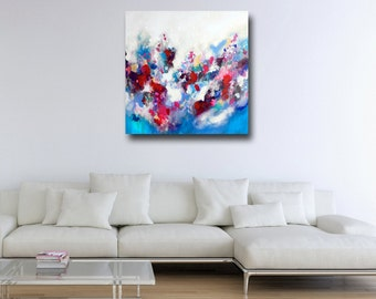 Large Abstract Print, Giclee Print, Wall Art, Canvas Print from Painting, Expressive Canvas Art, Colorful Print, Blue, Pink, Red, White