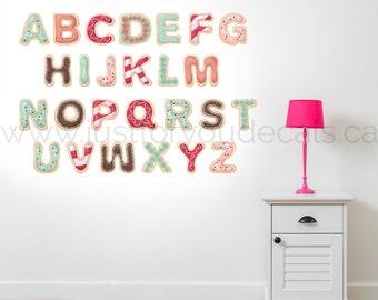 Alphabet Nursery Wall Decal, Donut Wall Decal,  Alphabet Decal, Children Room Wall Decal - Play Room Wall Decal - Nursery Wall Decal 01-0029