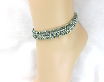 Chain ankle bracelet chain maille anklet beach jewelry wide chain handmade chain blue green rings ankle bracelet for women