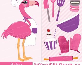 Chef pink flamingo clipart, kitchen cook, cookie baker, cupcake bakery, girl flamingo, cooking baking, bird art digital PNG clip art (CL020)