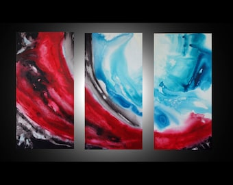"""Large abstract wall art - turquoise wall art, 3 piece wall art, red wall art, triptych art, original paintings, abstract canvas art 36x54"""""""
