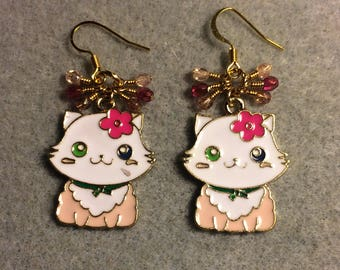 Pink and white enamel kitty cat charm earrings adorned with tiny dangling hot pink and light pink Czech glass beads.