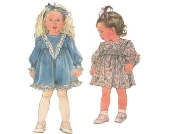 Little Girls Size 3 Sweet Gunne Sax Flared Dress Simplicity Pattern 8203 by Jessica McClintock Ruffle Hem Shaped Yoke Lined or Unlined