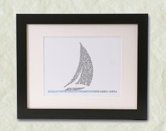 Long Beach Island Sailboat Word Art Print