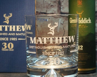 Personalised Birthday Gift, Whiskey Tumbler Glass. With Gift Box (miniature not included) GT8