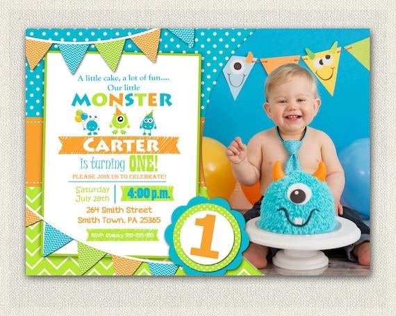 First birthday invitation boys monster 1st birthday boys filmwisefo Image collections