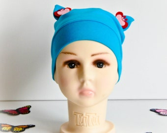 Girl's autumn beanie, spring beanie, hat cap, light blue slouchy with butterflies, loop knit fabric, baby hat, toddler slouchy, cotton cap