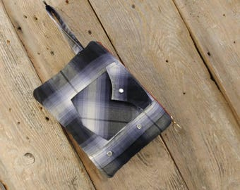 Cowgirl clutch upcycled navy and grey western shirt