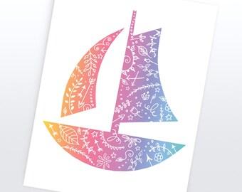 Sail Boat Nautical Art | 4 Sizes | Printable |   Nautical Decor, Nautical Nursery, Wall Decor