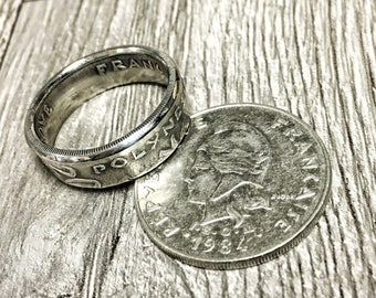 French Polynesia 20 Franc Bora Bora Ring- perfect anniversary honeymoon antique Coin, Women's, Men's, Engagement, Anniversary, band jewelry