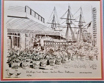 Phillips Crab House Harbor Place Baltimore Signed Ara Kachadourian 1981 and Numbered