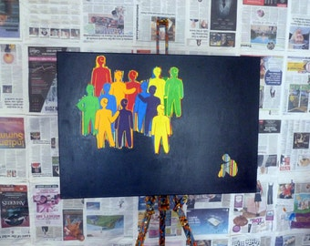 "Different 33"" x 23.5""   Rainbow, Vibrant, Bold, Art For Thought, Colourful, Retro, Mod, Canvas Art, Gouache, Emotional Art"