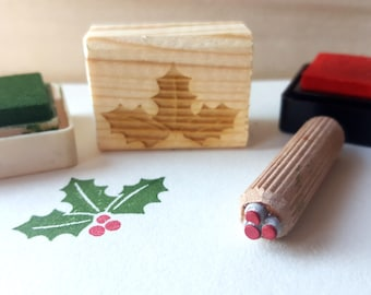 2 Christmas Stamps,Holly stamp, Gift Tag Stamp, Christmas Tag , Gift Tag stamp, Seson greating, Happy holiday