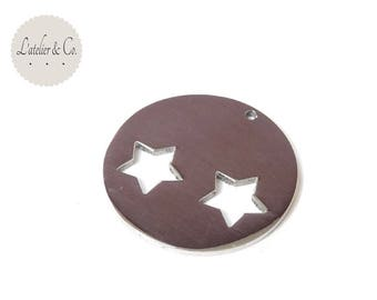 Star Medallion pendant 32mm silver stainless steel * md1 03 *.
