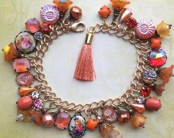Charm Bracelet - Orange Bracelet - Orange Jewelry - Rhinestone Bracelet - Vintage Bracelet - Spring Jewelry - Flower Jewelry - Gift for Her