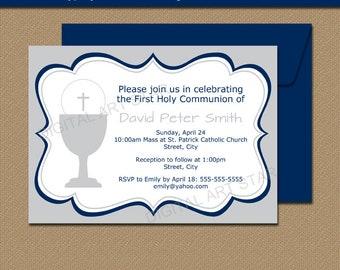 Boys First Communion Invitation Download, Printable First Communion Invitation Boy, Boy 1st Communion Invitations, Holy Communion Invite FC1