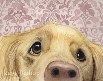 Golden Watercolor Painting, Animal Art, Golden Painting, Golden Watercolor, Golden Art, Dog Art, Golden Retriever, Dog Decor, Dog Print, Art
