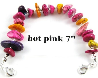Hot pink purple and yellow orange turquoise nugget medical alert or watchband 7