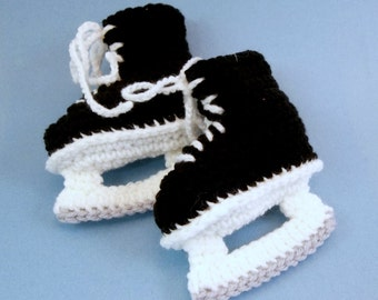 Baby Booties Crochet Hockey Skates  Black Ice Skates