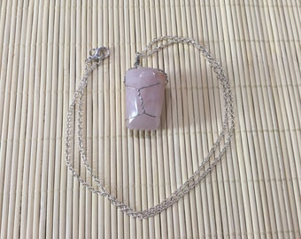 Pink Wire Wrapped Stone Necklace