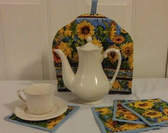 Sunflower Tea Cozy and 4 Coasters