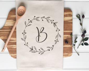 Personalized Tea Towel Custom Wedding Gift Custom Initial Housewarming Gift Flour Sack Towel Customized Bridal Shower Gift Kitchen Monogram