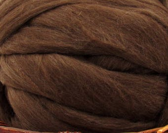 Dark Brown Merino D' Arles Wool Top Roving - Undyed Natural Spinning & Felting Fiber / 1oz
