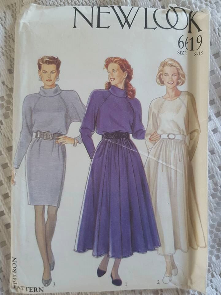 Vintage New Look 6619 Dress Sewing Pattern Size 8, 10, 12, 14, 16 ...