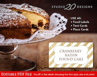 Instant Download Gold Glitter Food Labels, DIY Editable Food Labels, Printable Glitter Tent Cards, Gold Glitter Place Cards, Editable PDF