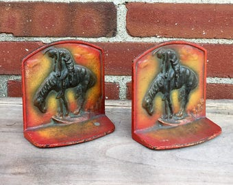 Pair of Vintage End of the Trail Cast Iron Bookends