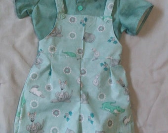 18 Month Aqua Down Under Shortall With Shirt
