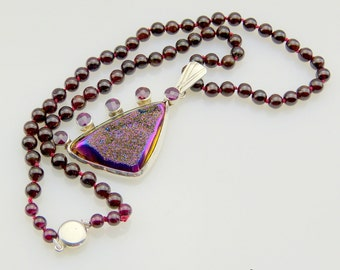 Garnet and Drusy Pendant - Handmade Drusy Statement Necklace - Sterling Silver Drusy Pendant - Red and Purple Necklace - FREE SHIPPING