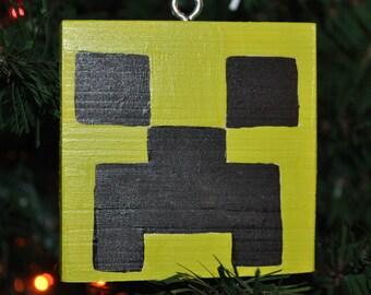Square Christmas Ornament/Minecraft Inspired Creeper Ornament